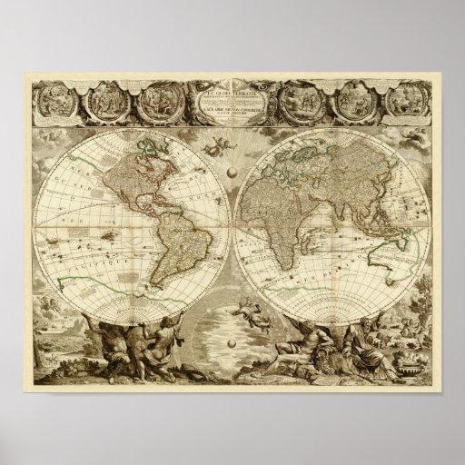 Weltkarte 1708 durch Jean Baptiste Nolin Plakatdrucke