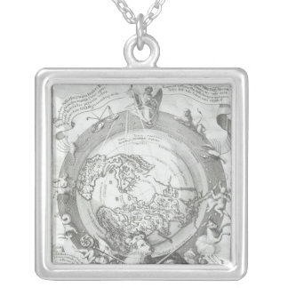 Weltkarte 2 versilberte kette