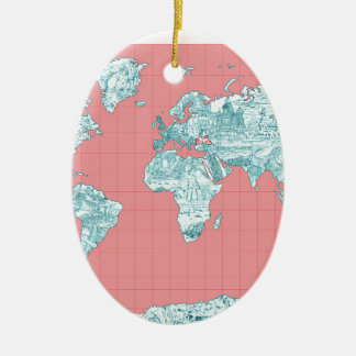 Weltkarte 7 ovales keramik ornament
