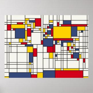 Weltkarte abstrakte Mondrian Art Plakatdruck