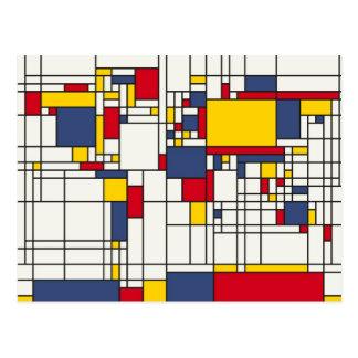 Weltkarte abstrakte Mondrian Art Postkarte