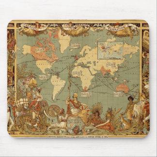 Weltkarte Antike Vintages 1886 Mauspad