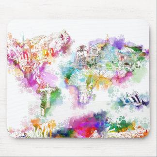 Weltkarte-Aquarell 12 Mousepads