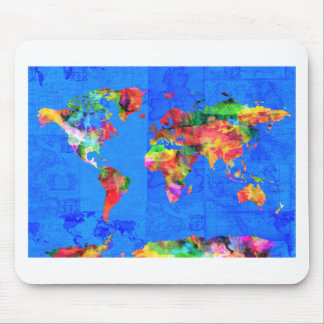 Weltkarte-Aquarell 1 Mauspads