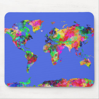 Weltkarte-Aquarell 30 Mauspad