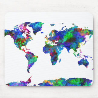 Weltkarte-Aquarell 6 Mauspad