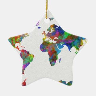 Weltkarte-Aquarell Keramik Ornament