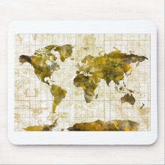 Weltkarte-Aquarell Sepia Mauspad