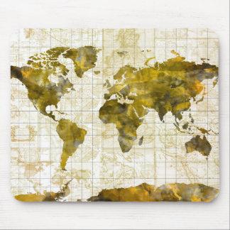 Weltkarte-Aquarell Sepia Mousepad