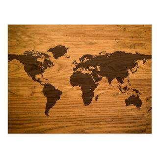 Weltkarte auf hölzernem Korn Postkarte