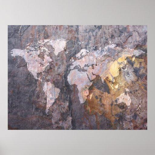 Weltkarte auf Steinhintergrund Poster