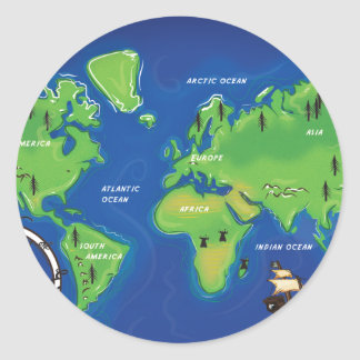 Weltkarte Runder Aufkleber