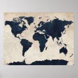 Weltkarte beunruhigte Marine Poster