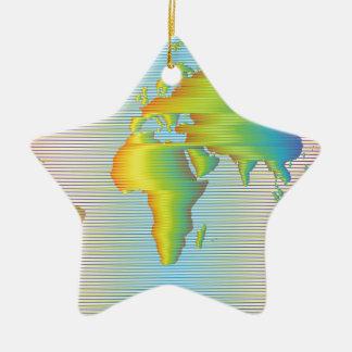 Weltkarte der Regenbogenbänder Keramik Ornament