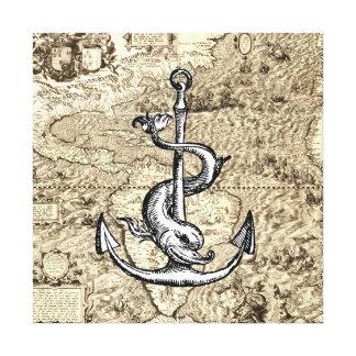 Weltkarte des Amerikas mit Anker und Delphin Leinwanddruck