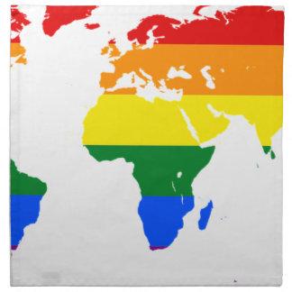 Weltkarte des Regenbogen-LGBT Serviette