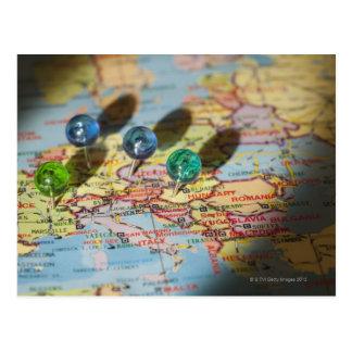 Weltkarte, Europa Postkarte