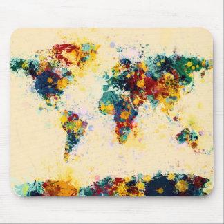 Weltkarte-Farbe spritzt Mauspad