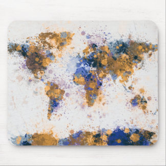 Weltkarte-Farbe spritzt Mauspads