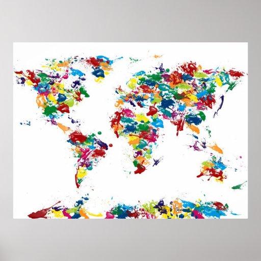 Weltkarte-Farben-Tropfen Poster