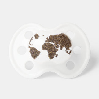 Weltkarte gefüllt mit Kaffeebohnen Schnuller