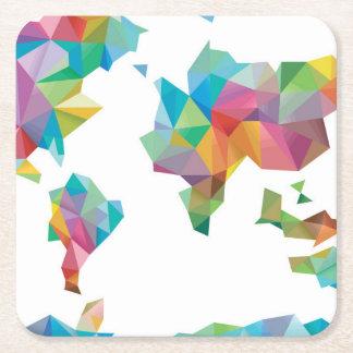 Weltkarte gemacht von den geometrischen Formen Rechteckiger Pappuntersetzer