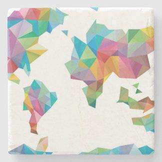 Weltkarte gemacht von den geometrischen Formen Steinuntersetzer
