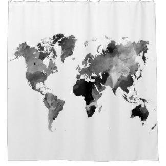 Weltkarte-graue Skala des Entwurfs-42 Duschvorhang