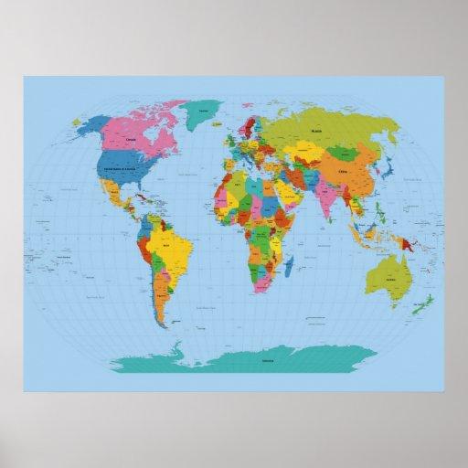 Weltkarte hell poster