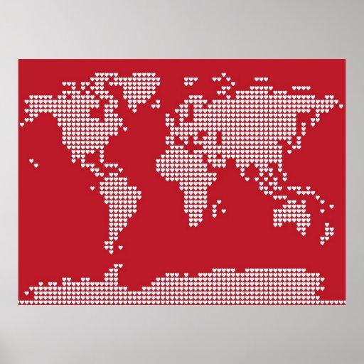 Weltkarte-Herzen Poster