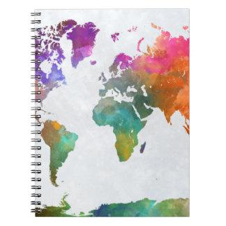 Weltkarte im Aquarell Notizblock