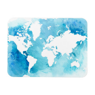 Weltkarte in den Watercolor-Blues Magnet