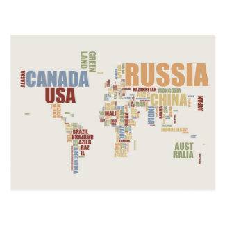 Weltkarte in den Wörtern Postkarte