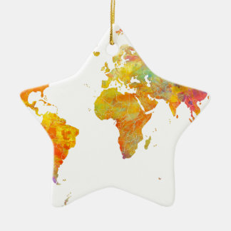Weltkarte Keramik Stern-Ornament