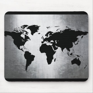 Weltkarte-Metall Mauspad