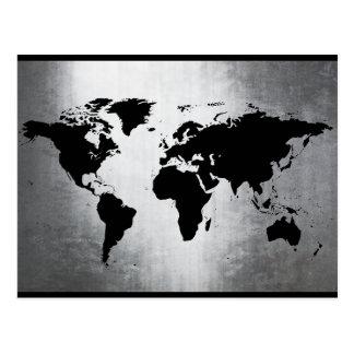 Weltkarte-Metall Postkarte