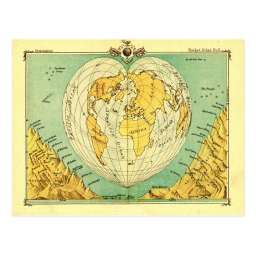 Weltkarte-Postkarte