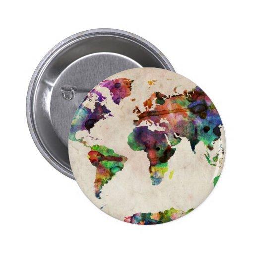 Weltkarte-städtisches Aquarell Buttons