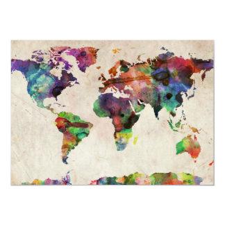 Weltkarte-städtisches Aquarell 12,7 X 17,8 Cm Einladungskarte