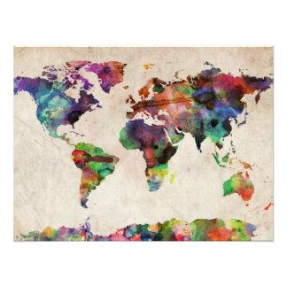 Weltkarte-städtisches Aquarell Photo Drucke