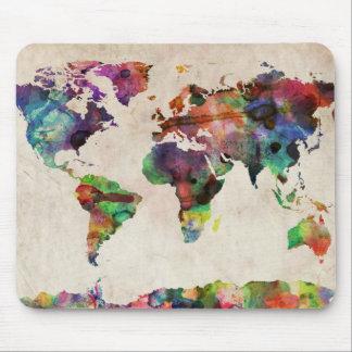 Weltkarte-städtisches Aquarell Mousepads