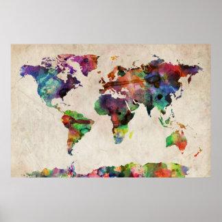 Weltkarte-städtisches Aquarell Posterdrucke