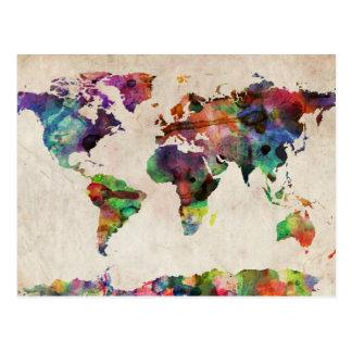 Weltkarte-städtisches Aquarell Postkarte