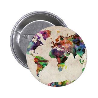 Weltkarte-städtisches Aquarell Runder Button 5,7 Cm