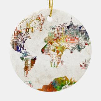 Weltkarte Vintage 2 Keramik Ornament