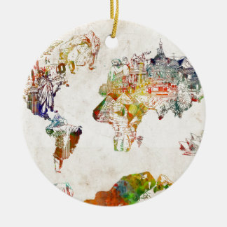 Weltkarte Vintage 2 Rundes Keramik Ornament