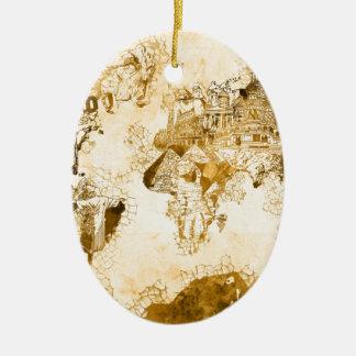 Weltkarte Vintages 1 Ovales Keramik Ornament