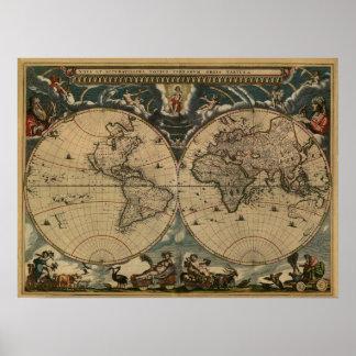 Weltkarte von 1664 poster