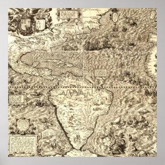 Weltkarte von Amerika durch Diego Gutiérrez Poster