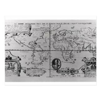 Weltkarte, welche die Expeditionen einzeln Postkarte